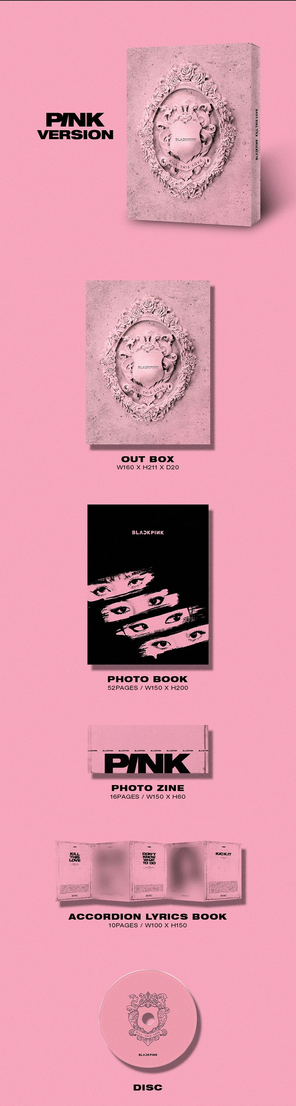BLACKPINK 2nd Mini Album - KILL THIS LOVE (Pink Ver ) CD + Poster