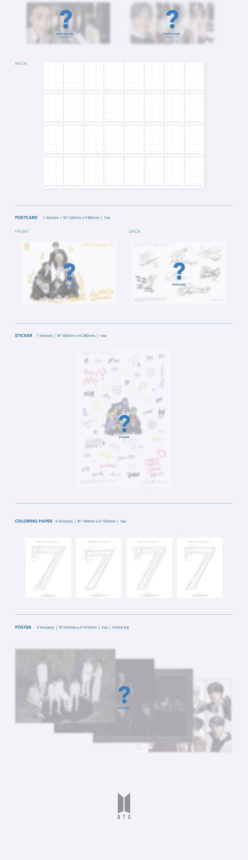 BTS Album - MAP OF THE SOUL : 7 (Random Ver.) CD + Poster