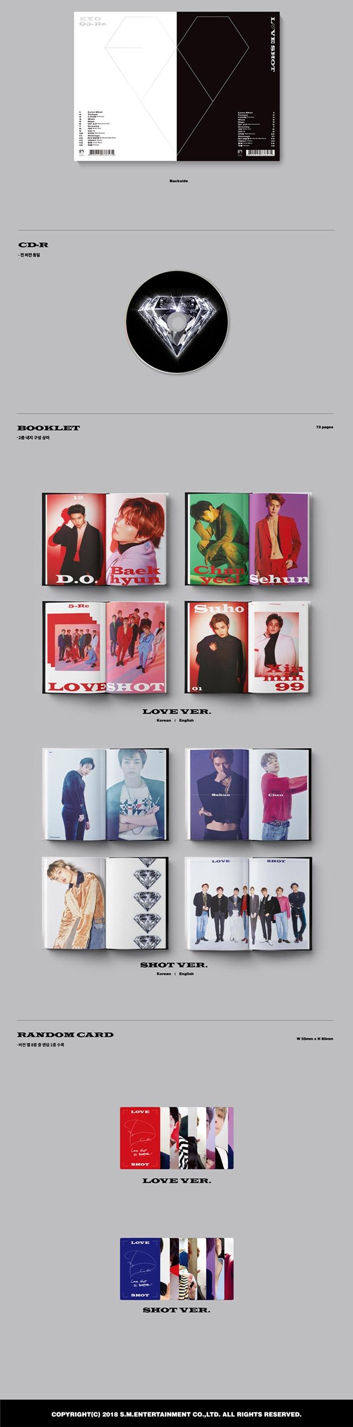 EXO 5th Repackage Album - LOVE SHOT (Random ver ) CD + Poster