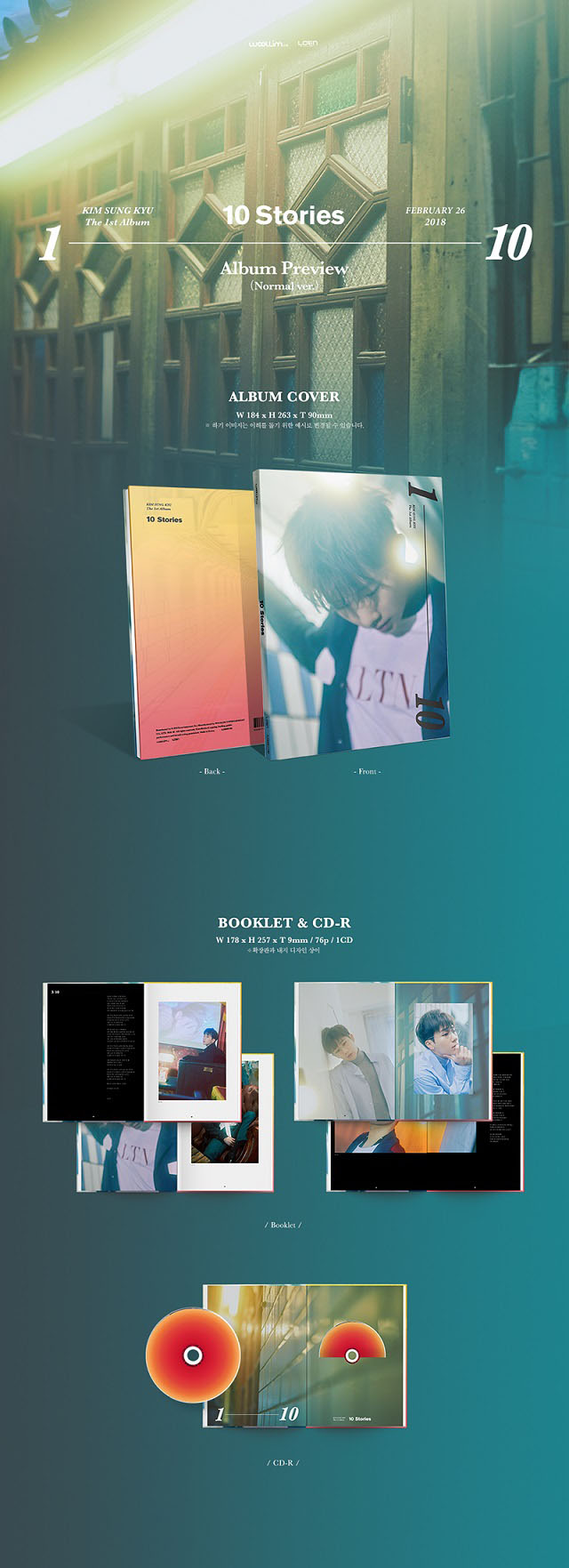 Kim Sung Kyu 1st Album 10 Stories Nomal Ver Cd Poster