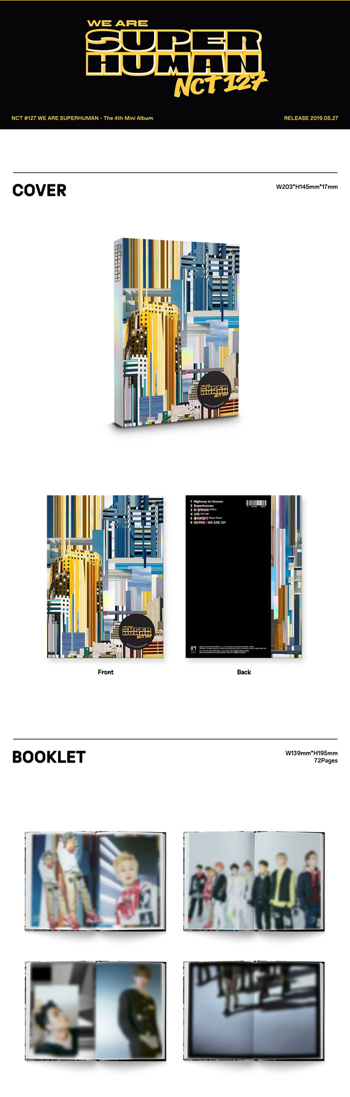 NCT 127 4th Mini Album - WE ARE SUPERHUMAN CD + 2Poster