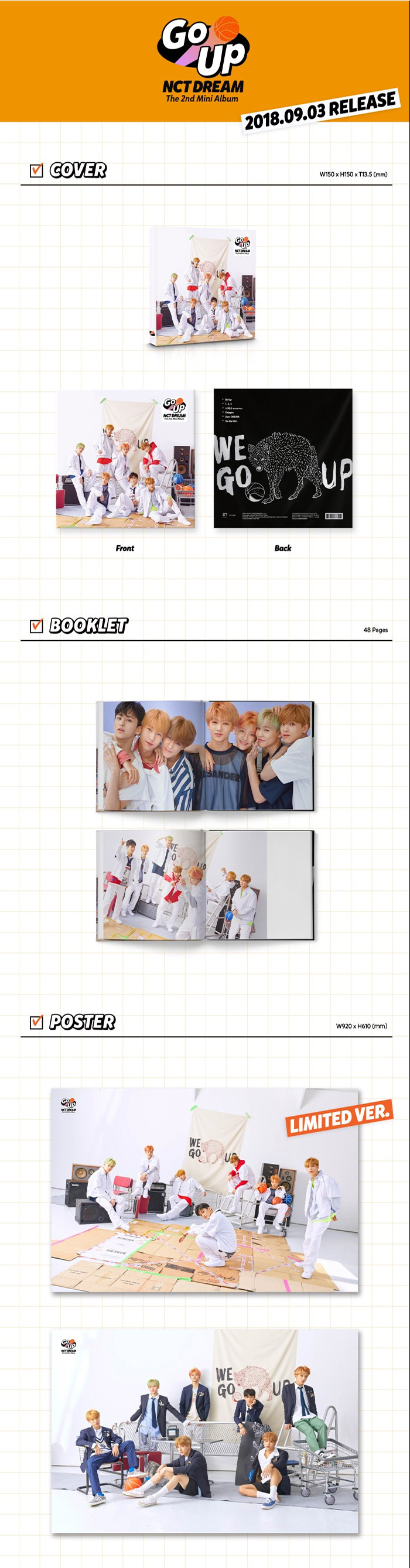 NCT DREAM 2nd Mini Album - We Go Up CD + Poster