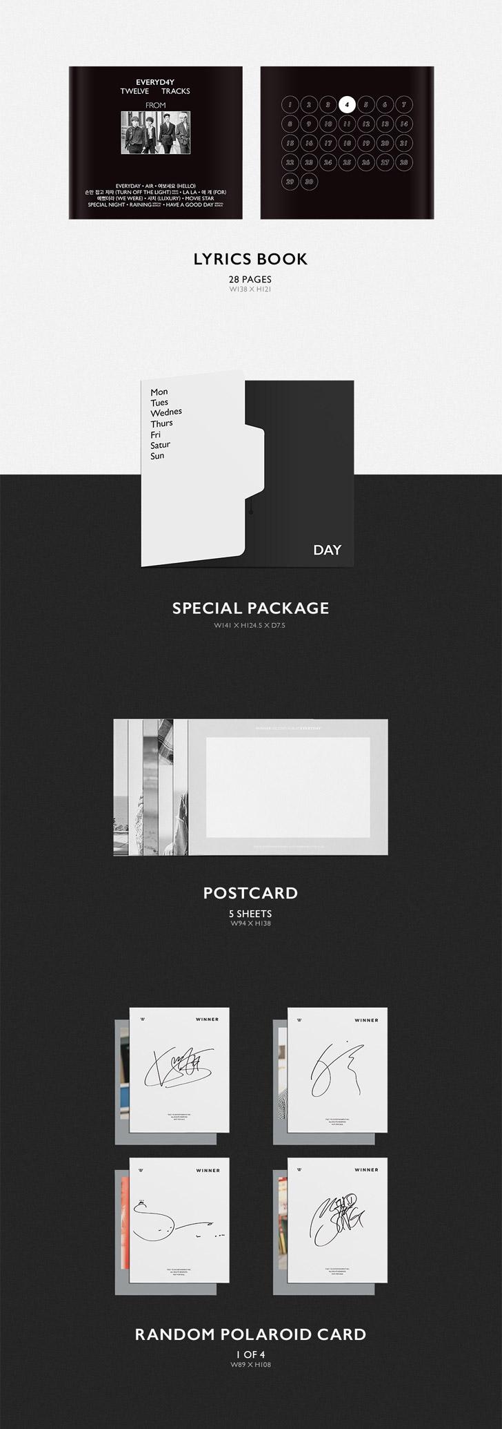 WINNER 2nd Album - EVERYD4Y(Night ver) CD + Poster